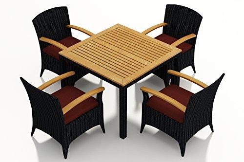 (Harmonia Living HL-AR-CB-5ADS-HN 5 Piece Arbor Dining Set with Arm Chairs, Canvas Henna Cushions)