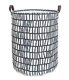 ESSME Laundry Hamper,Collapsible Canvas Waterproof Storage Bin Kids, Nursery Hamper,Gift Baskets,Home Organizer (Blue Stripes)