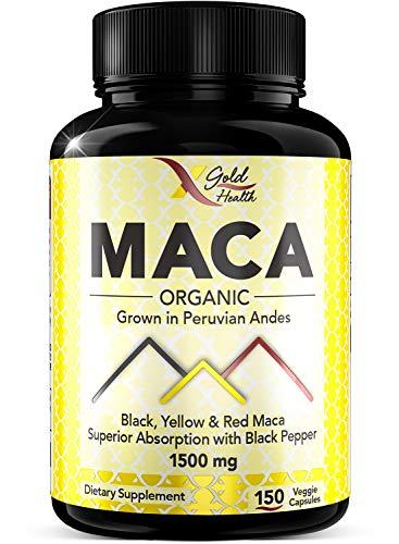 Organic Maca Root Powder Capsules Black, Red, Yellow, Strongest 1500mg Peruvian Maca Gelatinized for Energy, Performance and Mood for Men and Women, 150 Vegan Pills w/Black Pepper for Best Benefits (Peruvian Maca)