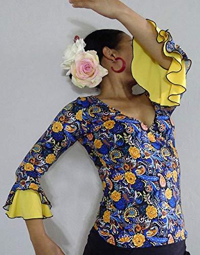 f5dbffbf2eba Handmade Flamenco Dance Top, balroom, waltz. Overlap Yellow, blue, black  prints