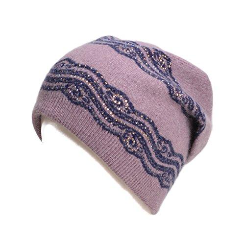 Lawliet Womens Wool Crochet Rhinestone Beanie Beret Warm Winter Lace Trim Hat T269 (Purple) (Wool Hat Lace)