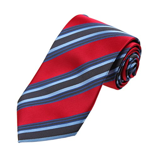 DAA7A23A Red Blue Grey Stripes Microfiber Neck Tie Italian In Bulking Neck Tie By Dan Smith (Mens Ties Italian compare prices)