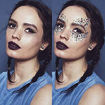 Face Breast Tattoo Sticker, Fascigirl 4 Bohemian Rhinestone Crystal Mermaid Tears Stickers Rave Party Festival Metallic Shiny Gems Glitter Temporary Eyes Face Body Tattoos Jewels
