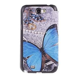 Conseguir Blue Butterfly Drawing patrón PU cuero Cara de plástico duro de la contraportada bolsas para Samsung Galaxy Nota 2 N7100