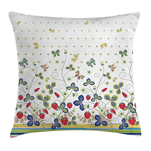 a PIN Floral Decor Throw Pillow Cushion Cover, Flowers Ivy Swirls with Leaves Bows and Butterflies White Background with Dots, Decorative Square Accent Pillow Case, Multicolor 20x30