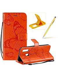 Strap Leather Case for Galaxy A20E,Wallet Leather Case for Galaxy A20E,Herzzer Premium Stylish Pretty 3D Orange Butterfly Printed Magnetic Soft Rubber Stand Case with Card Slots