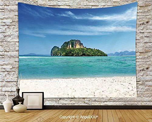 - AngelDOU Island Camping Tent Travel Mattress Tapestry Poda Island in Thailand Lagoon Limestone Sunshine Surfing Coastline Touristic Polyester Thin Tapestry.W59xL51.2(inch)