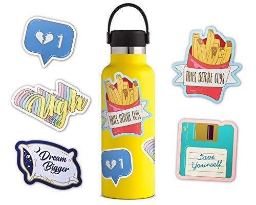 Oriday - Waterproof Laptop Stickers, Water Bottle Decal Sticker Pack (Vinyl PVC Matte Finish) - Blue ()