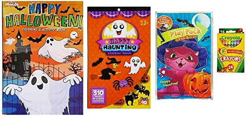 Halloween Activity Kit For Kids - Happy Haunting Coloring Book, 310 Stickers, Fun Activity Pack and Box of Crayola Crayons- 4 Piece Set with non-scary Ghosts, Cats, Bats and More