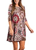 Dearlovers Vintage Round Neck Casual Floral Shift Dress for Women X-Large Size Coffee