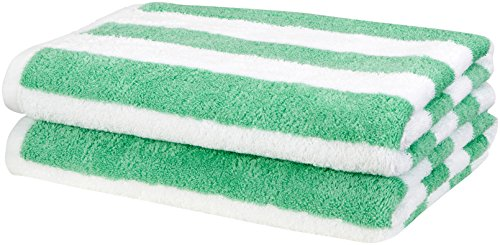 AmazonBasics Beach Towel - Cabana Stripe, Green, Pack of 2 by AmazonBasics
