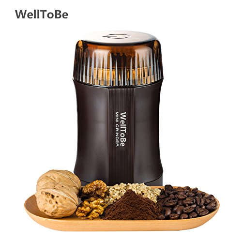 WellToBe CG-8120 Electric Coffee Grinder for Coffee Bean, Seed, Nut, Spice,Herb, Grain and others - Super Powerful 200 Watt 20 Seconds to Grind per time, Double Stainless Steel Blades