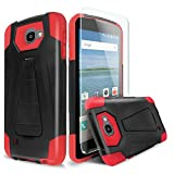 Coolpad Catalyst Case With TJS® Tempered Glass Screen Protector Included, Dual Layer Shockproof Impact Resist Rugged Case Cover with Kickstand Silicone Inner Layer For Coolpad Catalyst (Red/Black)