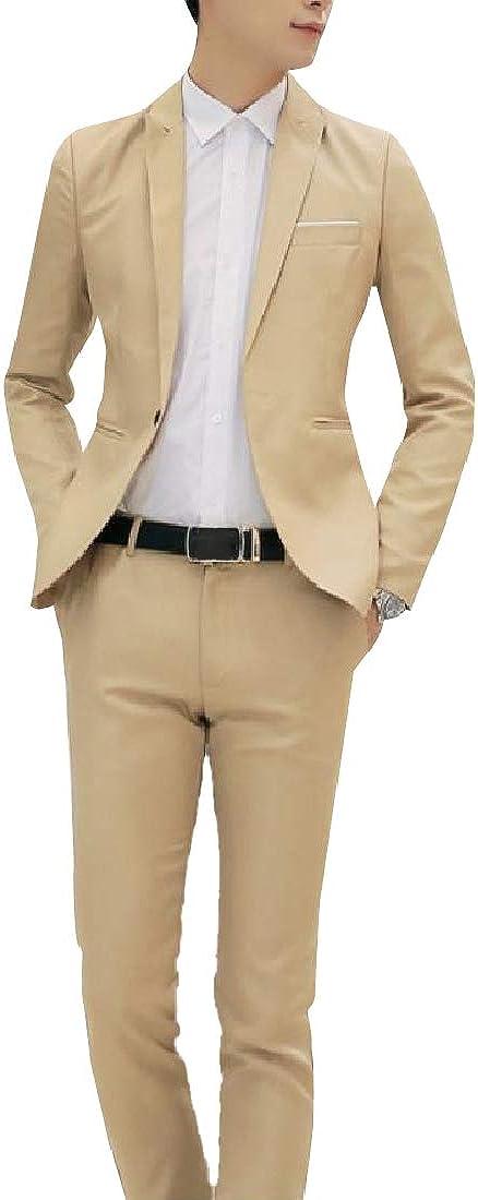 Howme Men 2 Piece Set Dress Suit Fit Single Button Dinner Jacket /& Pant