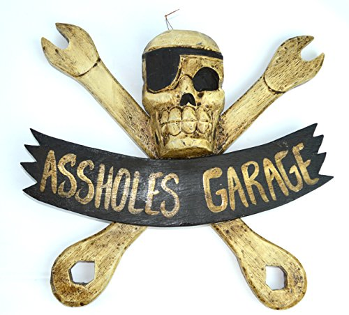 """LG 12 inch Hand Carved Wood Pirate Skull Cross Bone With Wrenches """"ASSHOLE"""