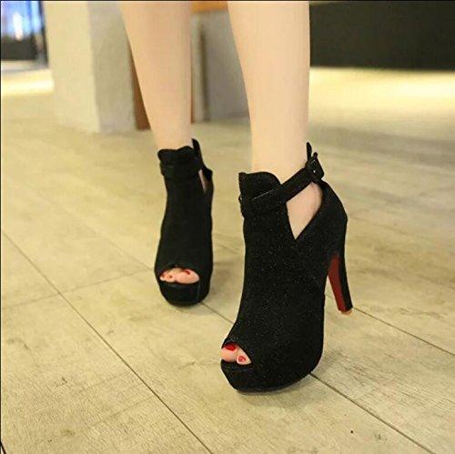 KHSKX-Waterproofing Women'S Shoes New Fish Mouth Rough Heel Female Sandals Fine Heels Of Night Shop Women Shoes Thirty-seven ZrbLLxSCjZ