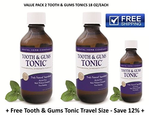 Tooth and Gums Tonic - Value Pack 2 Bottles + 1 Free Tonic Travel Size by Dental Herb Company