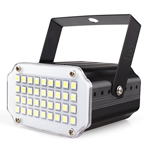 Mini Halloween White LED Strobe Light, Sound Activated and Flash Speed Control Party Light with 36 Super Bright Leds Stage Lighting for Room Dance Parties Birthday DJ Bar Karaoke Xmas Wedding Show ()