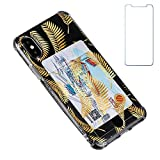 """Oddss Case Compatible for iPhone Xs/X 10(5.8"""") with Card Holder Slot Ultra-Slim Thin Soft TPU Clear Cover Compatible for iPhone XS/X/10 with Screen Protector (Gold Leaves)"""