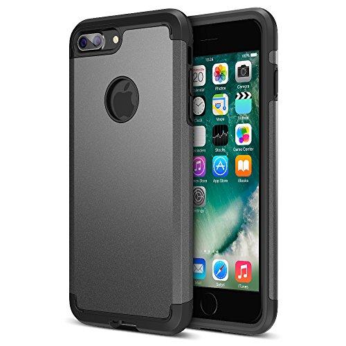iPhone 7 Plus Case, UNU [UShield Series] Ultra Protective Case For Apple iPhone 7 Plus Case Bumper Cover Shock-Absorption Bumper and Anti-Scratch Back for iPhone 7 Plus - Metallic Grey/Black