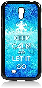 Keep Calm and Let It Go-Snowflakes-Hard Black Plastic Snap - On Case with Soft Black Rubber Lining-Galaxy s4 i9500 - Great Quality!