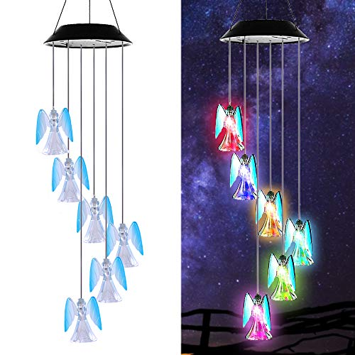 (Changing Color Solar Powered Lucky Angel Wind Chime Wind Moblie LED Light, Gzero Spiral Spinner Windchime Portable Outdoor Chime for Patio, Deck, Yard, Garden, Home)