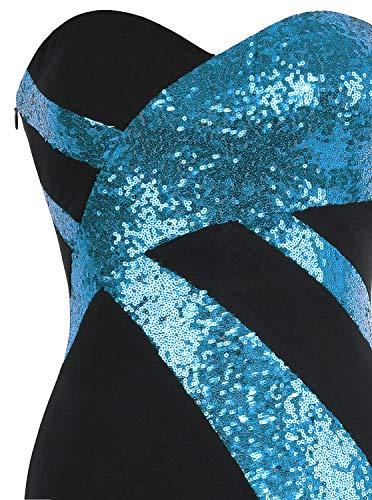 Classico Nero Angel Senza Donna Blu Spalline Tesoro Cielo fashions Incrociato Da Sera Abito Bianco nOn08