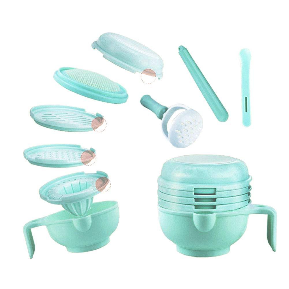 Baby Nahrung Pürierset, Isuper 8- teilige Lebensmittel Stampfer Babynahrung Schüssel Multifunktionelles Mahlwerk für Baby, Grün Baby Nahrung Pürierset Grün