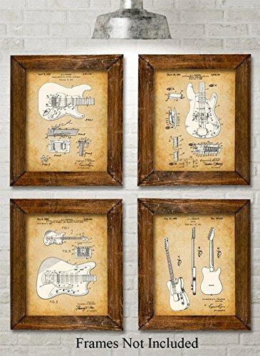 Original Fender Guitars Patent Art Prints - Set of Four Phot