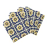 Roostery Spirograph Organic Sateen Dinner Napkins Floral Tiles Spirograph by Spacefem Set of 4 Cotton Dinner Napkins Made