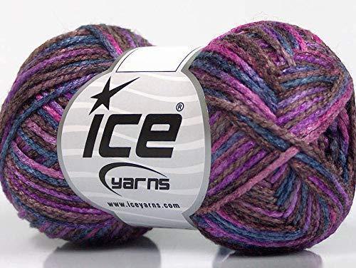 Lot of 8 Skeins ICE Portofino (50% Wool) Yarn Pink Purple Blue Maroon
