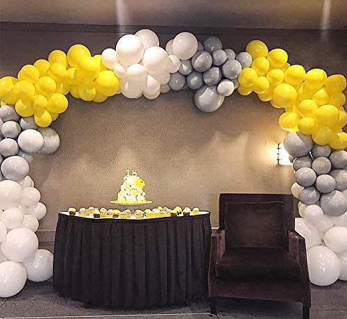 PartyWoo Gray Yellow White Balloons 60 pcs 12'' Matte Balloons Pack of Gray Balloons White Balloons Yellow Balloons, Party Balloons for Wedding Decor, Yellow White Baby Shower, Gray Party -