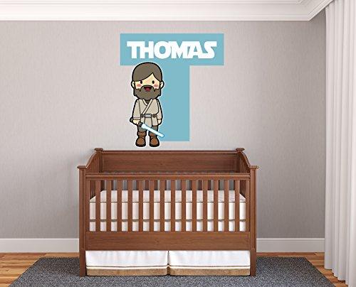 [Custom Name Personalize Colors Baby Animation Obi-Wan Kenobi Star Wars Wall Decal Vinyl Sticker Art] (Obi Wan Kenobi Baby Costumes)