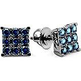 1.00 Carat (ctw) 10k White Gold Round Blue Sapphire Men's Square Shaped Stud Earrings 1 CT