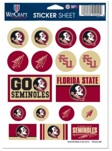 NCAA Official Florida State University Seminoles 5x7 inch Sticker Sheet (Sheet Sticker University)