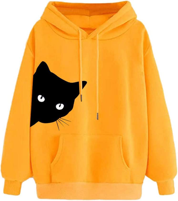 Multi Colors Cute Cat Print Solid Color Cozy Long Sleeve Shirts Pullover Blouses Hoodies for Teen Girls College Student Daily Wear Outdoor Workout Goddesslili Womens Tops