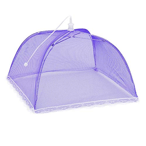 2Pcs Mesh Food Covers Tent Umbrella Pop up Mesh Screen Food Cover Tent Mesh Food Covers Indoor Outdoor Collapsible and Washable Keep Flies, Mosquitoes, Bees and Other Bugs Away From Your Food (Purple) by Freeby (Image #4)