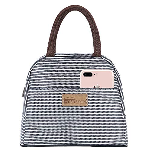 HOMESPON Lunch Bag Insulated Tote Bag Lunch Box Resuable Cooler Bag Lunch container Waterproof Lunch holder for Women/Men(Navy & White Stripe, Standard Size)
