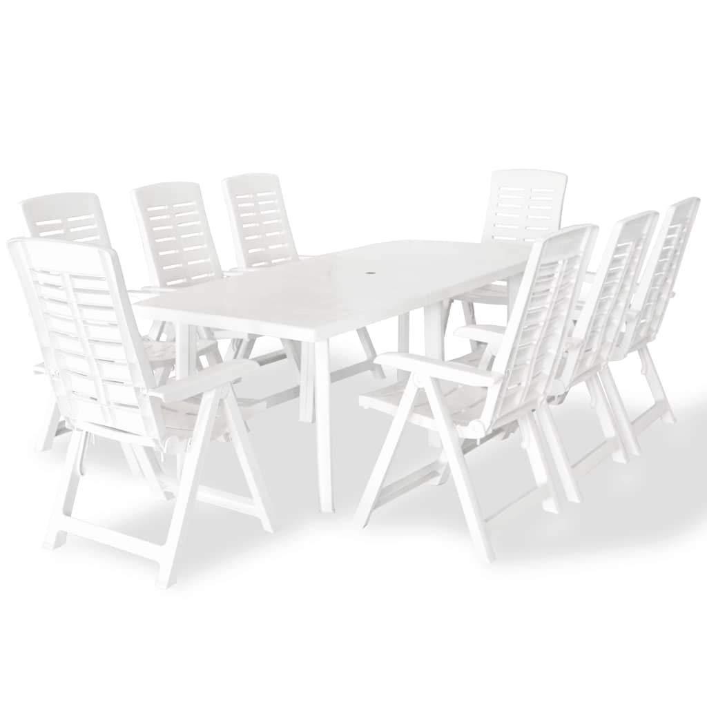 vidaXL Set Comedor Jardín 9 Piezas 210x96x72cm Blanco Mesa Silla Mueble Cocina