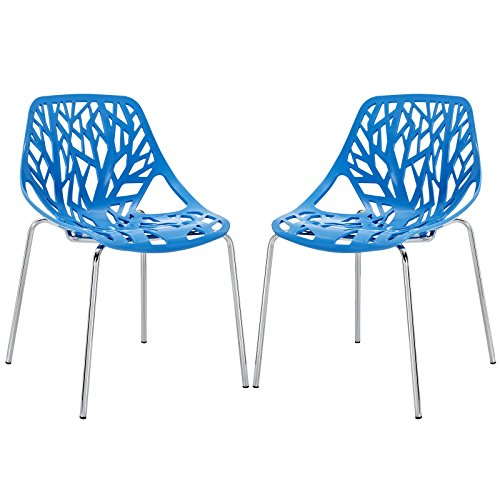 Modway Stencil Dining Side Chair Set of 2 in Blue