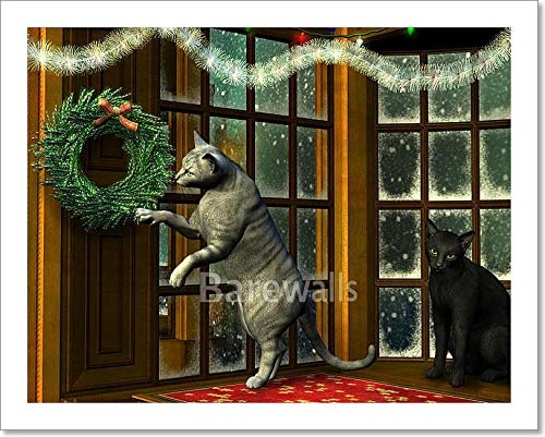 barewalls Christmas Cats in Holiday Window Paper Print Wall Art (8in. x 10in.)