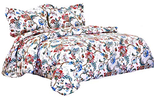 Delbou Tree Floral Duvet Cover Set Zipper Closure,Comforter Cover King in White 104 92 Inch