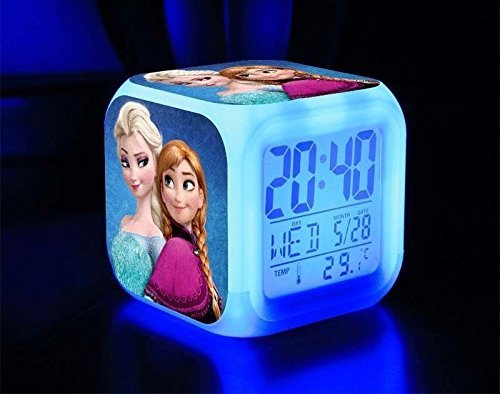 Amazon.com: Frozen Elsa And Anna 7 Color Changing Led Digital Alarm Clocks For Kids: Health & Personal Care