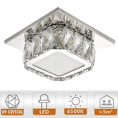 Ganeed Modern LED Ceiling Light,7.9Inch Stainless Steel K9 Crystal Flush Mount Lights Fixture,Mini Square Chandelier Ceiling Lamp for Dining Room Living Room Bedroom Hallway (12W / 6500K / Cool White)