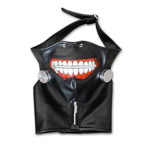 Cosplaza - Máscara de cosplay de cuero negro, con cremallera, color negro y plateado, peluca blanca
