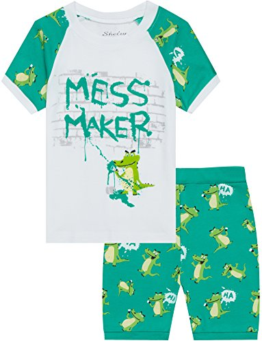 Boys Alligator Pajamas Cartoon Sleepwear for Children 2 Piece Shorts Set PJS Size (Boys Pjs Sleepwear)