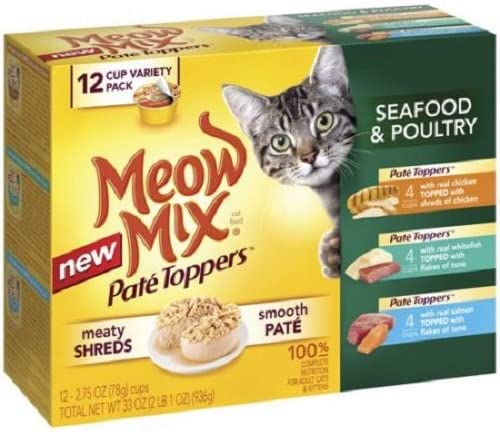 Meow Mix Pate Toppers Seafood Poultry Wet Cat Food Variety Pack, 2.75-Ounce Cups bite-size shreds of seafood or poultry, layered over smooth pate by Meow Mix