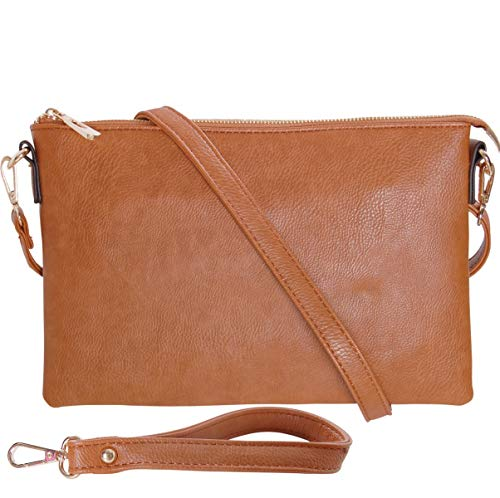 Humble Chic Vegan Leather Crossbody Tablet Purse - Convertible Travel iPad Wallet Pouch or Messenger Bag, Saddle Brown, Camel, Tan, Cognac, Walnut