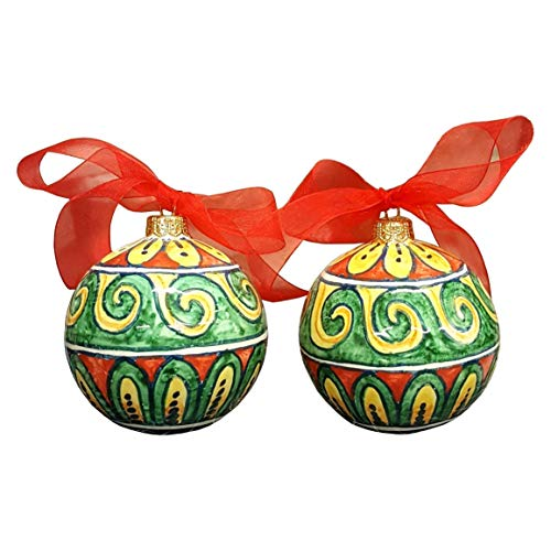CERAMICHE D'ARTE PARRINI - Italian Ceramic Art Pottery 2 Balls Ornaments Christmas Decorated Hand Painted Made in ITALY Tuscan