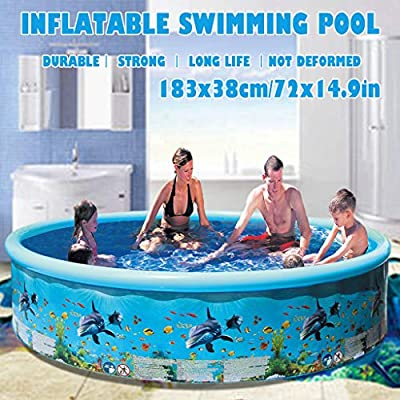 Inflatable Swimming Pools, Blue Family Pool Above Ground,Pools Toys And Games ,Hard Plastic Swim Center Kiddie Pools For Kids 3-10 And Adults,Backyard,Summer Water Party (183 x38cm/72.0x14.9in): Garden & Outdoor